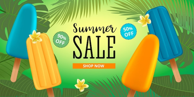 Summer sale banner template with popsicle ice cream, frangipani flower and palm leaves. typography badge. vector