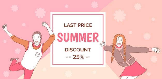 Summer sale  banner template with text space. smiling man and woman having fun, enjoying and dancing.