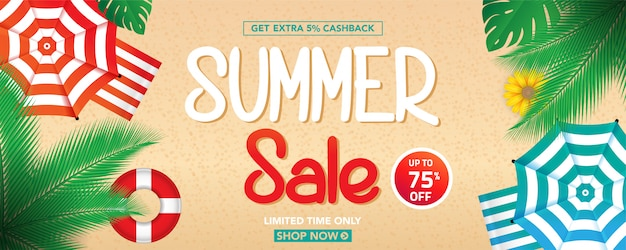 Summer sale banner template with tropical leaves background