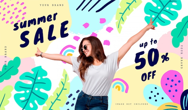 Summer sale banner template with tropical leaves and cheerful doodles