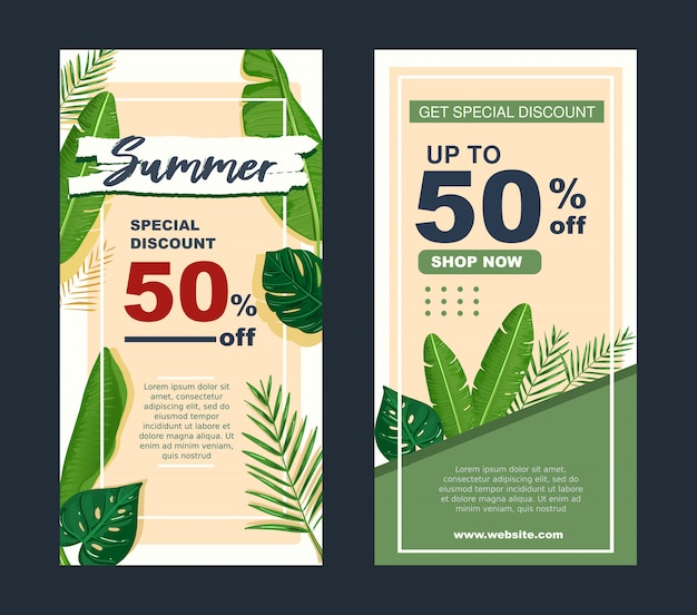 Summer sale banner template with tropical leaves design vector.