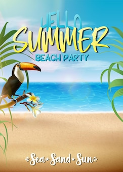 Summer sale banner template with tropical leaves and tukan on a beach