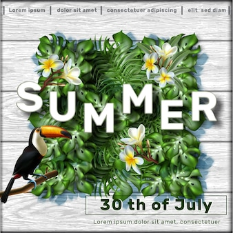 Summer sale banner template with tropical leaves and tukan bird