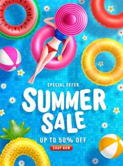 Шаблон баннера летней распродажи с женщинами на круглом бассейне плавает в плиточном бассейне