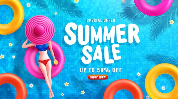 Summer sale banner template with women on round pool floats in the tiled pool