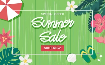 Summer sale banner template with wooden background