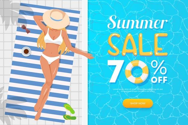 여름 판매 배너. 상위 뷰 소녀, 수영장
