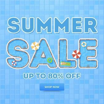 Летняя распродажа баннер. вид сверху на летнюю девушку, бассейн и предметы.