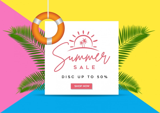 Summer sale banner, tropical background with palm leaves