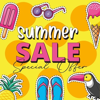 Summer sale banner over tropical background