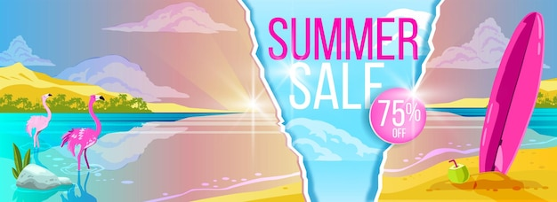 Summer sale banner tropical beach in flat design