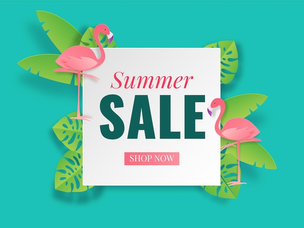 Summer sale banner. tropical styles paper banner cut poster. vector illustration voucher for travel and vacation discount flyer with top view of sea beach with waves and leaves