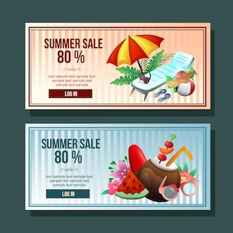 Summer sale banner umbrella relax decoration horizontal