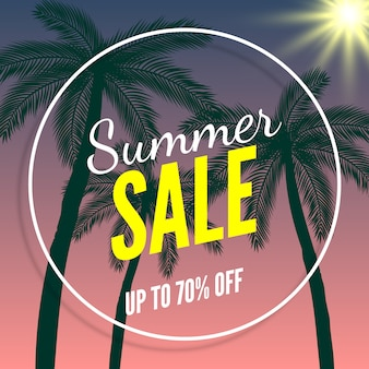 Summer sale banner, up to 70% off. palm trees and sun.