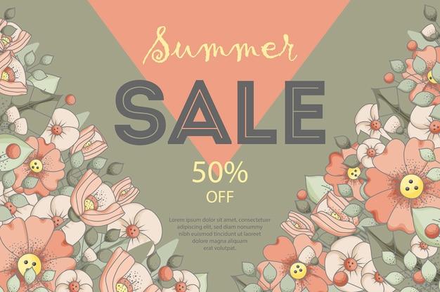 Летняя распродажа баннер, винтажный стиль с цветами.