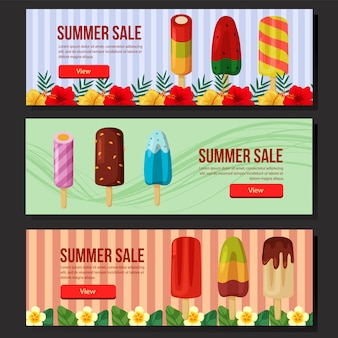 Summer sale banner web set popsicle  illustration