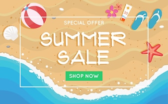 Summer sale banner with a beach scene in flat style