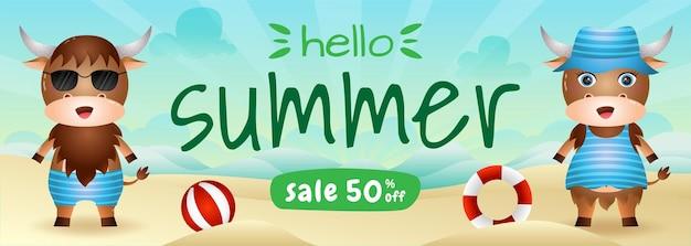 ビーチでかわいいバッファローと夏のセールバナー Premiumベクター