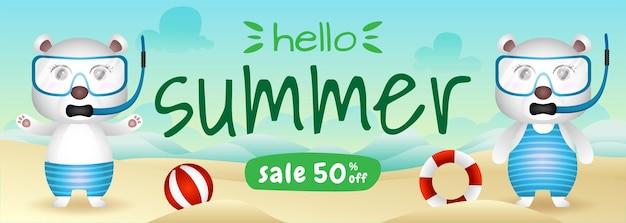 ビーチでシュノーケリングの衣装を使用してかわいいホッキョクグマのカップルと夏のセールバナー
