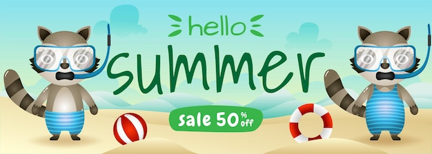 ビーチでシュノーケリングの衣装を使用してかわいいアライグマのカップルと夏のセールバナー