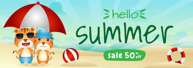 ビーチで傘を使用してかわいい虎のカップルと夏のセールバナー Premiumベクター