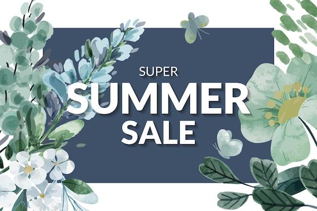 Летняя распродажа баннер с абстрактными цветочными композициями