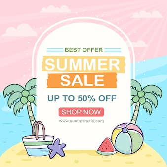 Summer sale banner with beach theme ornament drawing illustration set