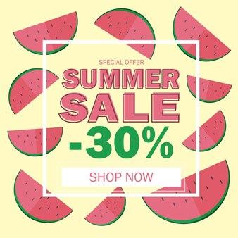 아름다운 수박 배경이 있는 여름 판매 배너 - 할인 카드 디자인