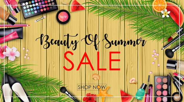 Summer sale banner with beauty and cosmetics background