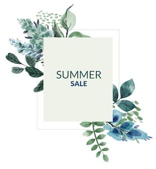 Летняя распродажа баннер с синими и зеленоватыми цветами
