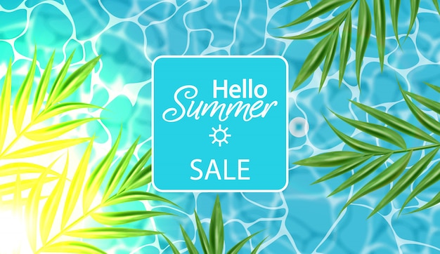 Summer sale banner with blue water