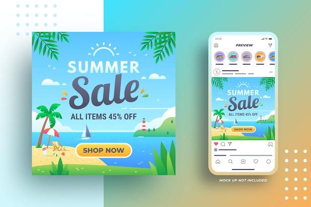 의자 우산 서핑 보드 등대와 해변 여름 판매 배너