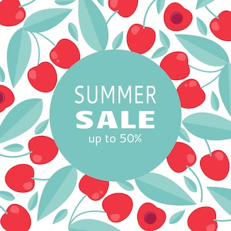 Summer sale banner with cherry
