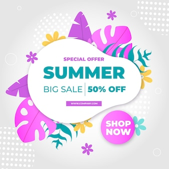Summer sale banner with colorful leaves