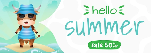 Summer sale banner with a cute buffalo using summer costume