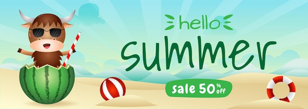 Summer sale banner with a cute buffalo in the watermelon