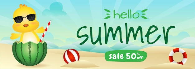 Summer sale banner with a cute chick in the watermelon