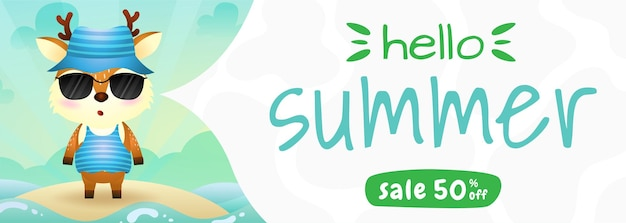 Summer sale banner with a cute deer using summer costume