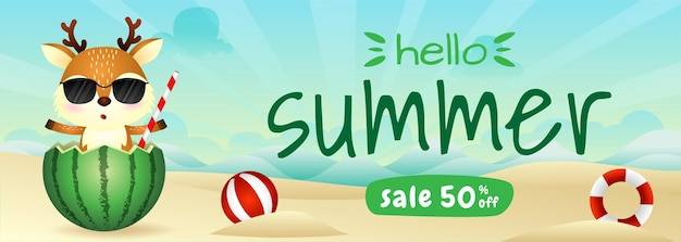 Summer sale banner with a cute deer in the watermelon
