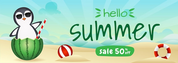 Summer sale banner with a cute penguin in the watermelon