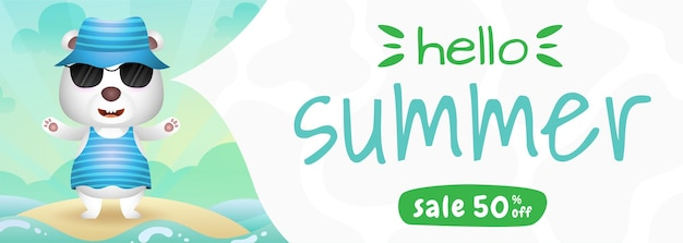 Summer sale banner with a cute polar bear using summer costume