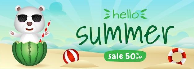 Summer sale banner with a cute polar bear in the watermelon