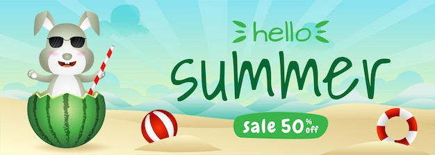 Summer sale banner with a cute rabbit in the watermelon