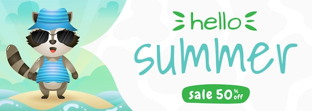 Summer sale banner with a cute raccoon using summer costume