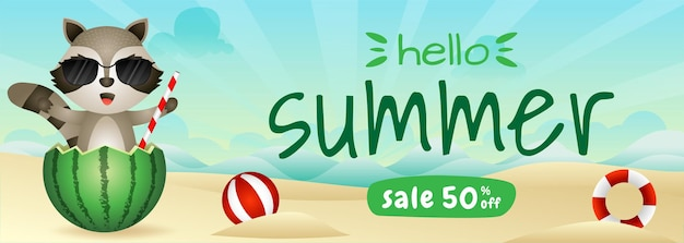 Summer sale banner with a cute raccoon in the watermelon