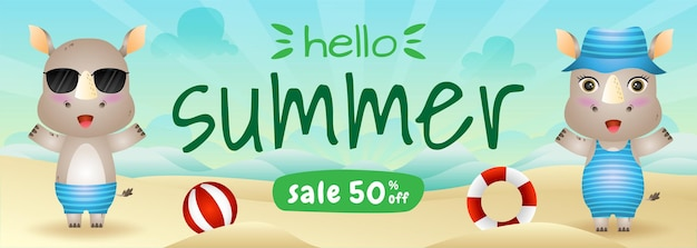 Summer sale banner with a cute rhino in beach