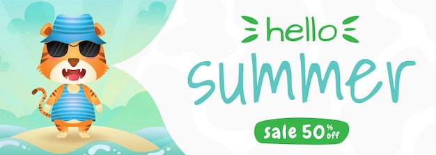 Summer sale banner with a cute tiger using summer costume