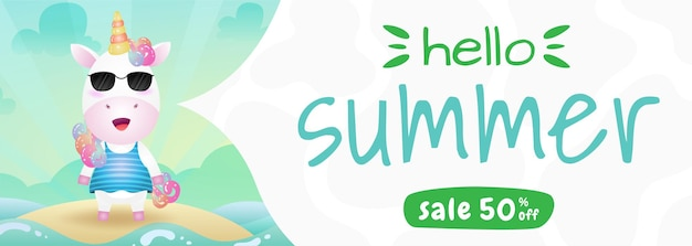 Summer sale banner with a cute unicorn using summer costume