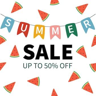 귀여운 수박 패턴 및 다채로운 플래그 여름 판매 배너