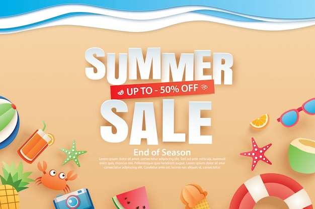 Summer sale banner with decoration origami on beach.